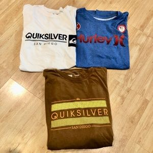 Lot of 3 Quicksilver & Hurley T shirts